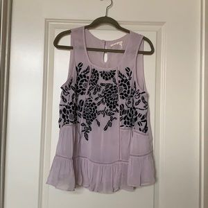 Lavender Tank Top With Embroidery